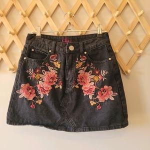 ALLY Black Floral Denim Mini Skirt (s8)